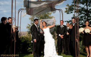 Jewish wedding couple under chuppah in Mission Viejo