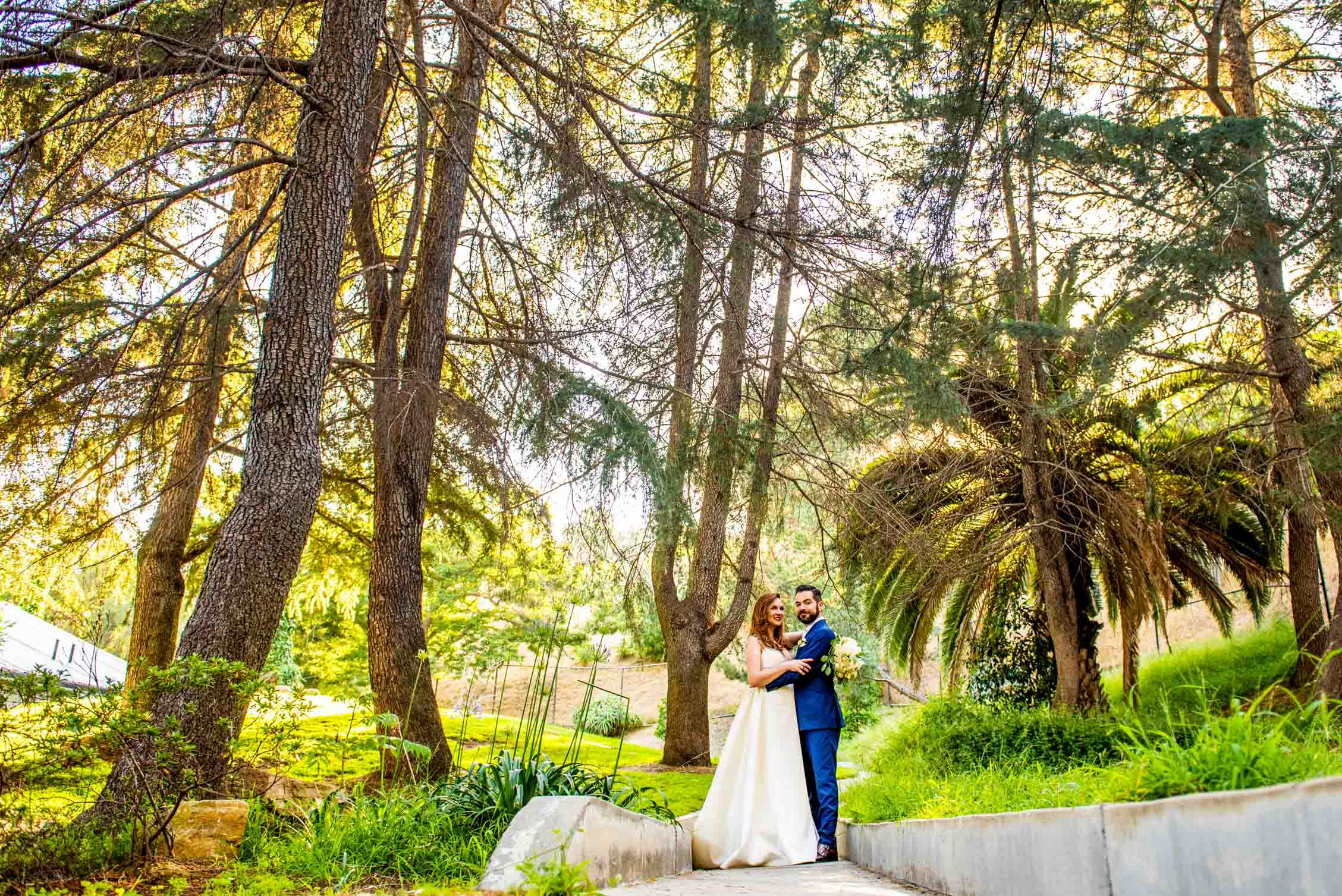 Wedding couple standing amongst lush palm trees