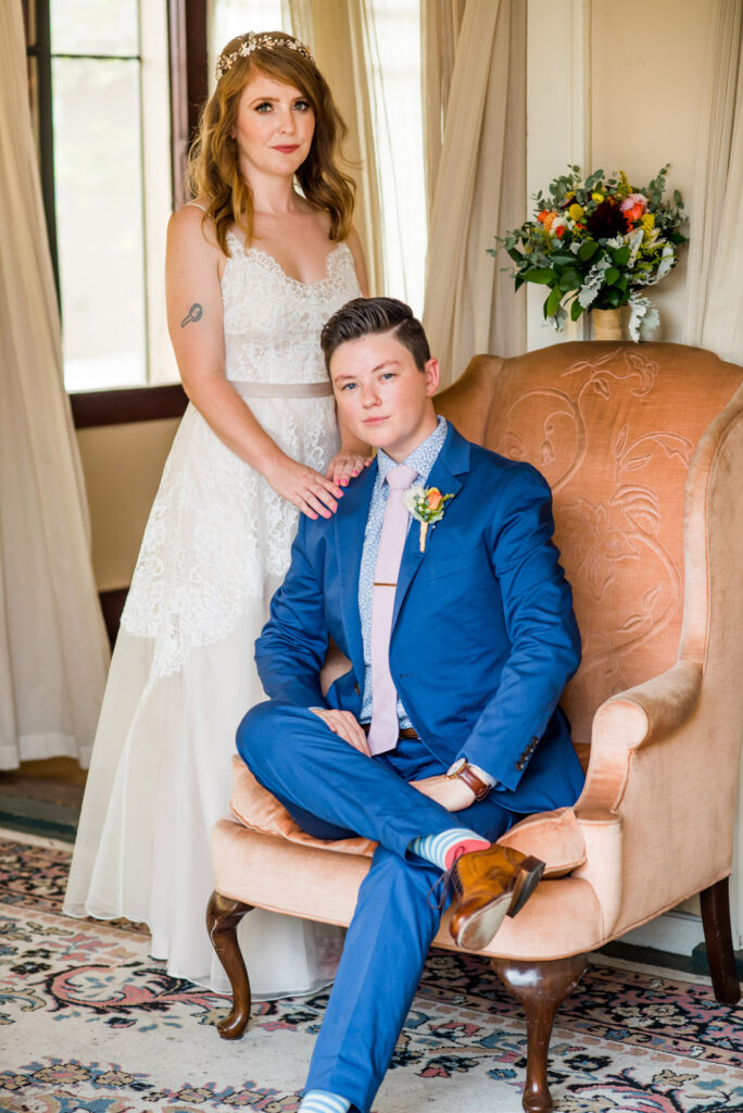 offbeat bride lesbian wedding couple