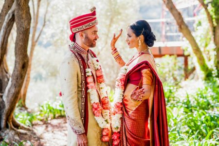 Indian couple on their wedding day