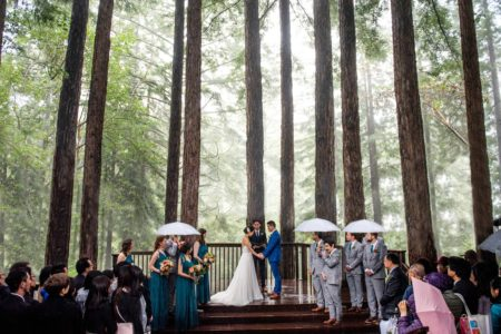 Bride and groom wedding ceremony surrounded by giant redwoods forest