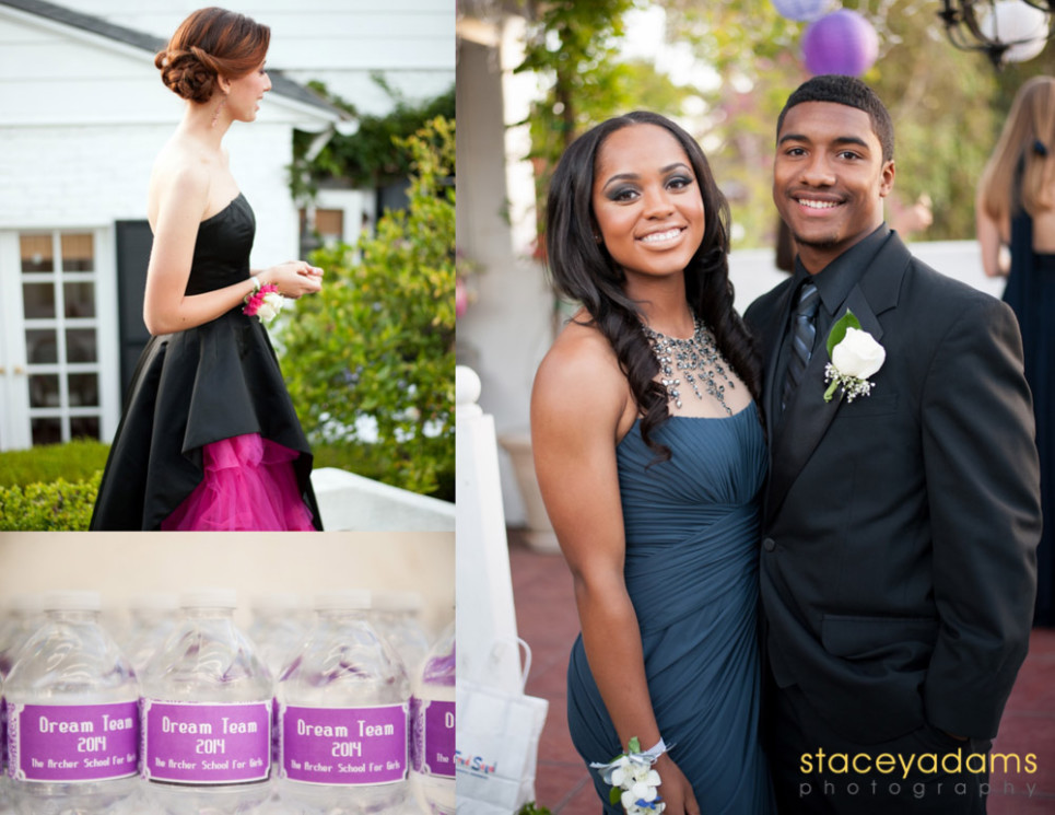 Triptych showing a girl in her black and fuscia prom dress, a prom couple in muted midnight blue and black, and customized party favors