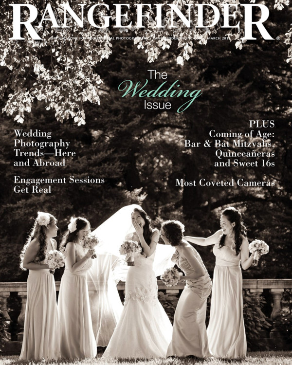 Cover image of Rangefinder Magazine that shows bride laughing with her bridesmaids