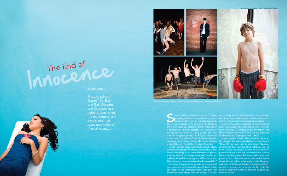 Two page spread in Rangefinder magazine with girl in blue lying on a diving board over a pool. The photos on the right are of a young shirtless boy wearing bright red boxing gloves, a male teenager in a suit with his tie blowing in the wind, two teens dancing at a sweet sixteen party, and 5 young males jumping into a pool